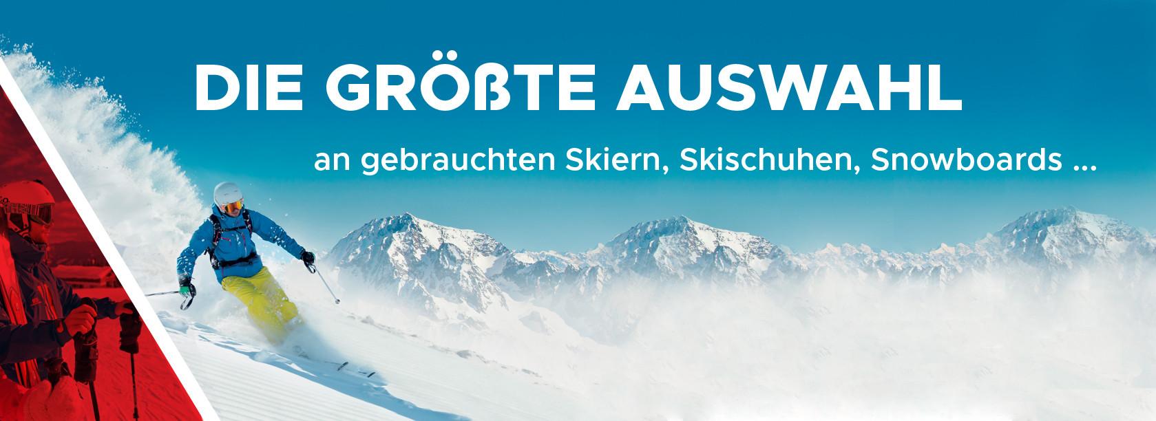 an gebrauchten Skiern, Skishuhen, Snowboards...